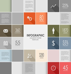Squares colorful info graphic template vector
