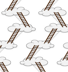 Stairway to clouds seamless pattern vector