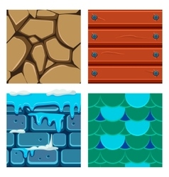 Textures for platformers icons set of wood vector