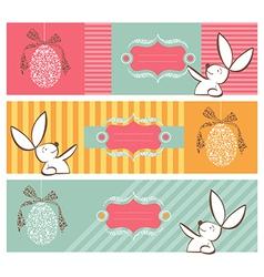 Tribal egg and Easter bunny banners set vector image