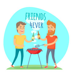 Two man fried meat on barbecue friends forever vector