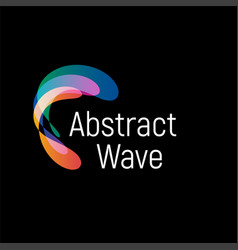 Wavy abstract logo smooth gradients and vector