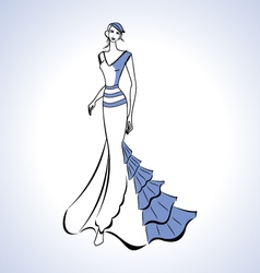 Woman silhouette in blue evening dress and beret vector