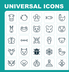 Zoo icons set collection of night fowl hen vector