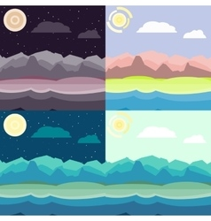 Mixed time landscapes set vector image