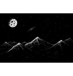 Landscape of mountains in the night vector