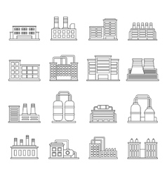 Industrial building icons set outline style vector