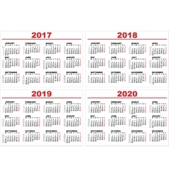 Set grid wall calendar for 2017 2018 2019 2020 vector