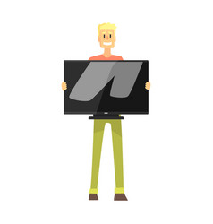 Man holding wide tv screen department store vector