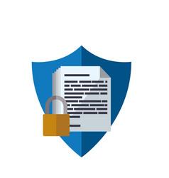 Shield documents security padlock vector