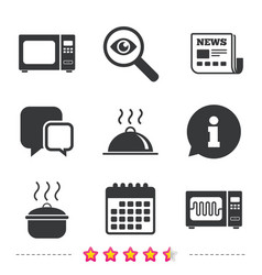 microwave oven icon cooking pan food serving vector image
