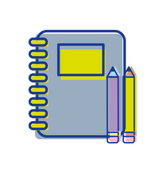 Rings notebook tool with pencils icon vector