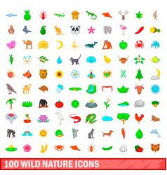 100 wild nature icons set cartoon style vector