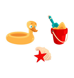 Toy bucket shovel rubber duck ring sea shells vector