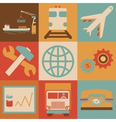 Retro Transportation Icons Flat Style for Web and vector image