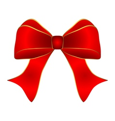 Red bow with gold trim vector