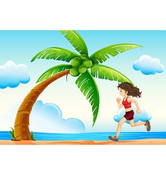 Girl and beach vector