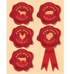 Set of patterns red seal with farm animals and bir vector
