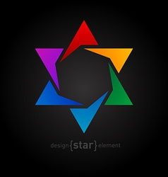 Abstract design element rainbow star on black vector