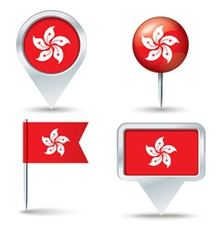 Map pins with flag of hong kong vector