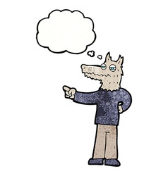 Cartoon pointing wolf man with thought bubble vector