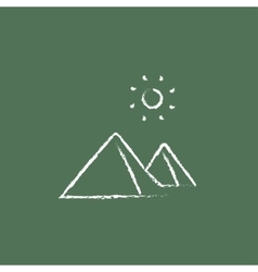 Egyptian pyramids icon drawn in chalk vector