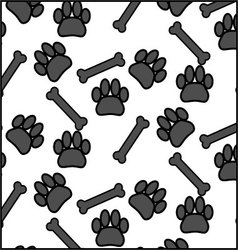 Seamless patter foot print dog and bone vector