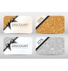 Set of golden and silver glitter discount cards vector