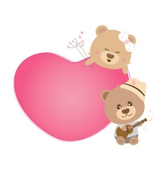 Love concept of couple teddy bear sing a song vector