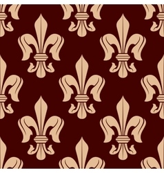 Brown and beige french lilies seamless pattern vector