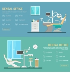 Flat banners dental office with seat and vector