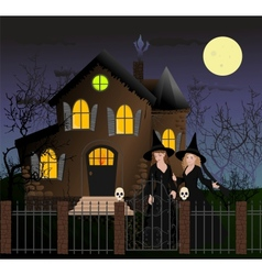 Halloween scene with beautiful witches vector