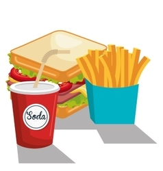 Delicious sandwich and soda isolated icon design vector