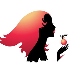 Silhouette of girl with perfume vector
