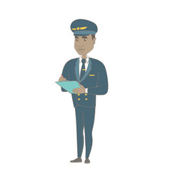African steward holding clipboard with documents vector