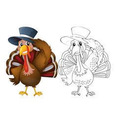 animal outline for turkey wearing hat vector image vector image