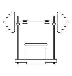 barbell and bench icon vector image vector image