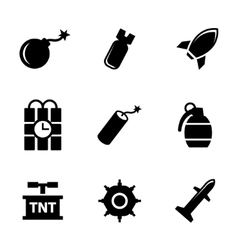 black bomb icons set vector image