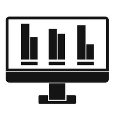 Business graph at computer screen icon vector