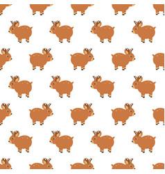 christmas wooden reindeer seamless pattern vector image
