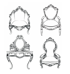 Classic royal furniture set with ornaments vector image vector image