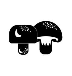 Contour delicious fresh mushrooms organ food vector