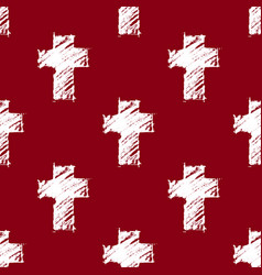 crosses seamless pattern red vector image vector image