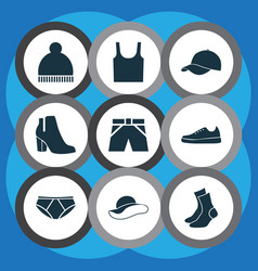 dress icons set collection of trunks cloth vector image vector image