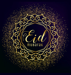Eid mubarak greeting with golden mandala vector