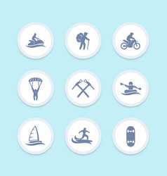 Extreme outdoor activities icons set vector