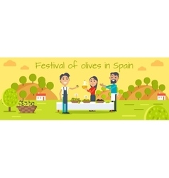 Festival of olives in spain flat concept vector