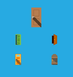 flat icon approach set of exit entry wooden vector image vector image