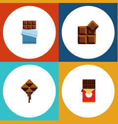 Flat icon sweet set of cocoa delicious chocolate vector
