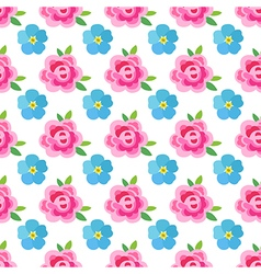 Flowers stylized roses forget-me-not seamless vector
